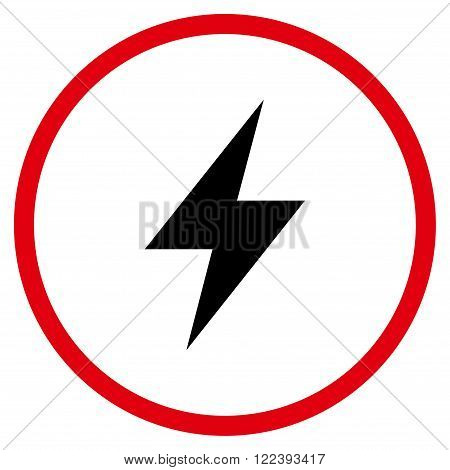 Electrical Strike vector bicolor icon. Picture style is flat electric strike rounded icon drawn with intensive red and black colors on a white background.