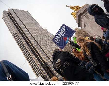New York, NY, U.S.A. - March 20, 2016 - Documentary Editorial Image -  Anti-Trump protesters march down fifth avenue to Trump Tower in New York City