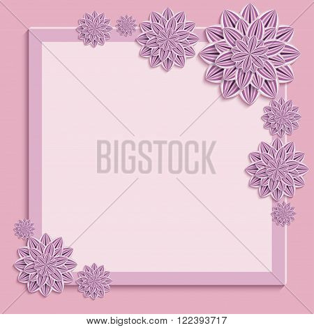 Floral square pink frame. Beautiful trendy nature background with ornate purple violet summer 3d flower dahlia cutting paper. Stylish modern festive greeting or invitation card. Vector illustration
