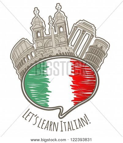 vector studying Italian language colored hand-drawn label with speaking bubble