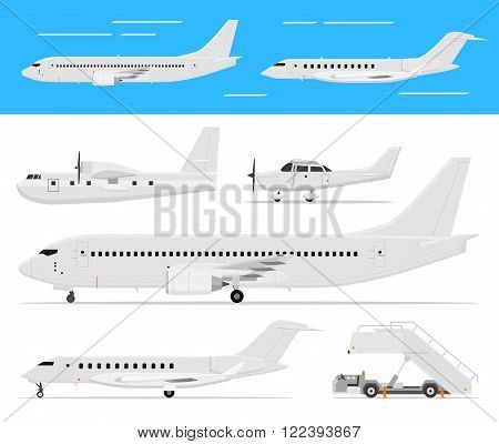 Modern and classic passenger airplanes, private business jets and single engine air planes standing and flying, side view, isolated. Vector flat web icons