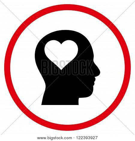 Lover Head vector bicolor icon. Picture style is flat lover head rounded icon drawn with intensive red and black colors on a white background.
