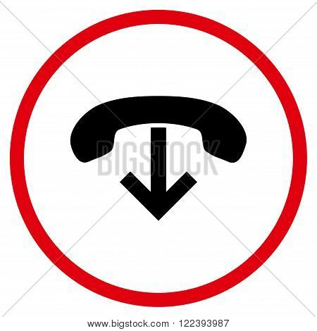 Telephone Hang Up vector bicolor icon. Picture style is flat phone hang up rounded icon drawn with intensive red and black colors on a white background.
