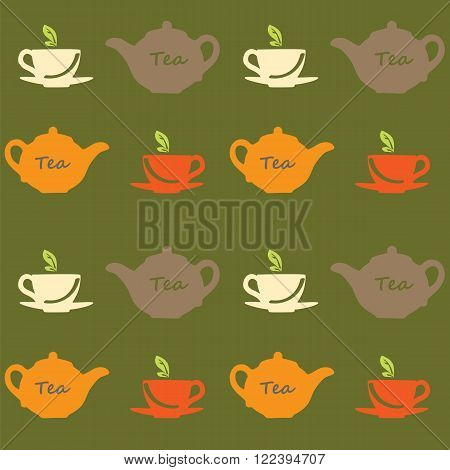 Seamless vector pattern with tea pots and tea cups on a green background. Vector illustration. Set