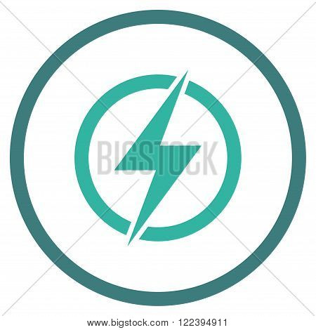 Electricity vector bicolor icon. Picture style is flat electricity rounded icon drawn with cobalt and cyan colors on a white background.