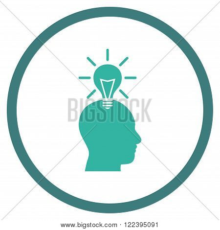 Genius Bulb vector bicolor icon. Picture style is flat genius bulb rounded icon drawn with cobalt and cyan colors on a white background.