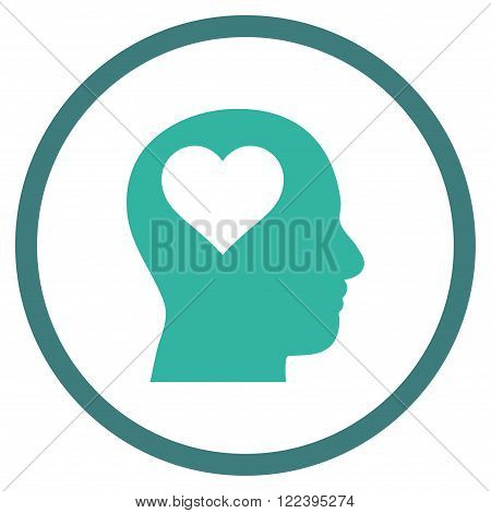 Lover Head vector bicolor icon. Picture style is flat lover head rounded icon drawn with cobalt and cyan colors on a white background.