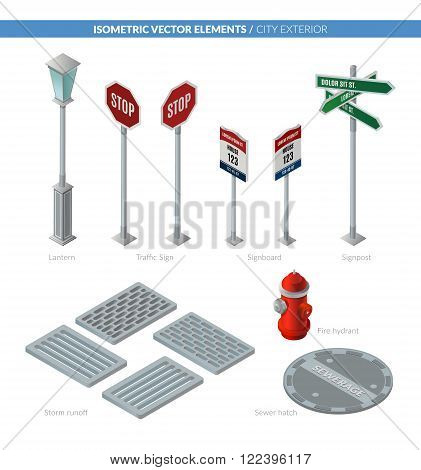 City exterior. Isometric vector elements for your design.