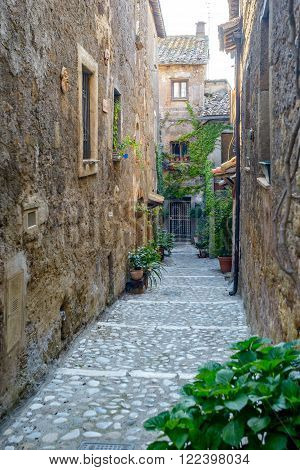 little street in an ancient village called Calcata near Rome Italy