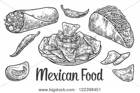 Mexican traditional food set with text message, burrito, tacos, chili, tomato, nachos.