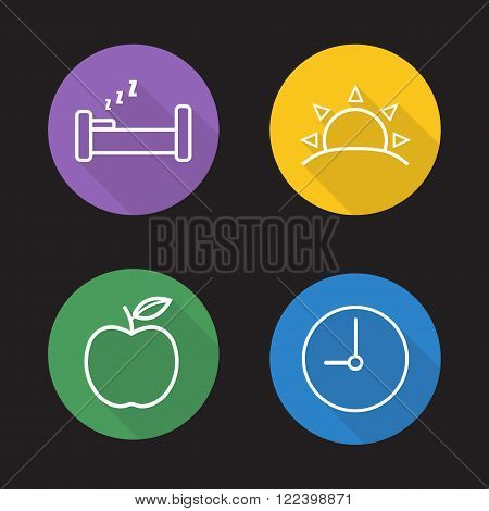 Everyday routine flat linear icons set. Sleeping bed, rising sun, nutrition apple symbol and clock pictogram. Long shadow outline symbol concepts. Line art illustrations on color circles. Vector