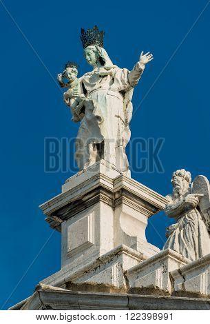 Statue Of Saint Maria At Basilica Di Santa Maria Della Salute, Venice, Italy