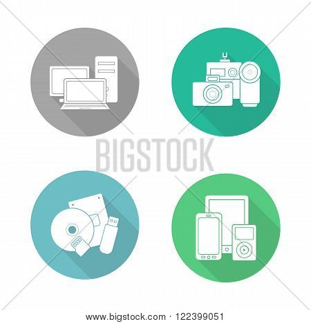 Consumer electronics flat design icons set. Modern digital devices round long shadow symbols. Data storage and multimedia accessories white silhouette illustrations. Web store categories. Vector
