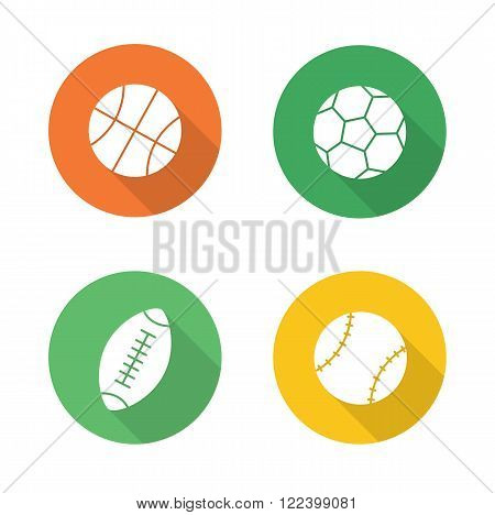 Sport balls flat design icons set. Basketball, soccer, baseball, american football or rugby long shadow logo concepts. Active, team play games pictograms. White silhouette illustrations. Vector