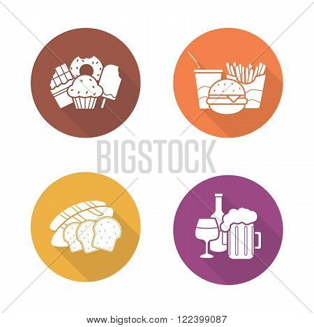 Food and drinks flat design icons set. Confectionery sweets, fast food, sliced bread, beer glass and wine bottle long shadow symbols. Unhealthy nutrition and beverages logo concepts. Vector pictograms