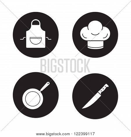 Cooking equipment black icons set. Domestic kitchen apron, restaurant chefs hat, professional chopping knife, frying pan. Kitchenware items. White silhouettes illustrations. Vector logo concepts