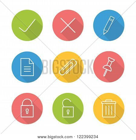 File manager linear icon set. Approve and decline round long shadow outline symbol. Multimedia application interface buttons. Security lock and unlock white line illustrations on color circles. Vector