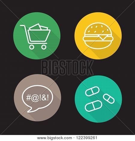 Bad habits flat linear icons set. Shopping cart, fast food burger, vulgar language, drugs pills. Long shadow outline logo concepts. Line art illustrations on color circles. Vector