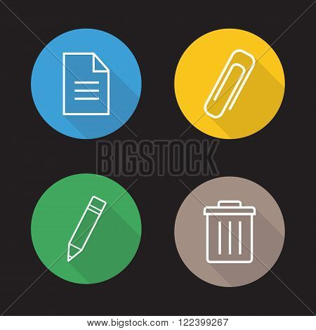 File editor flat linear icons set. New text document, attachment clip symbol, pencil edit button, trash bin. Long shadow outline logo concepts. App interface elements. Vector line art illustrations.