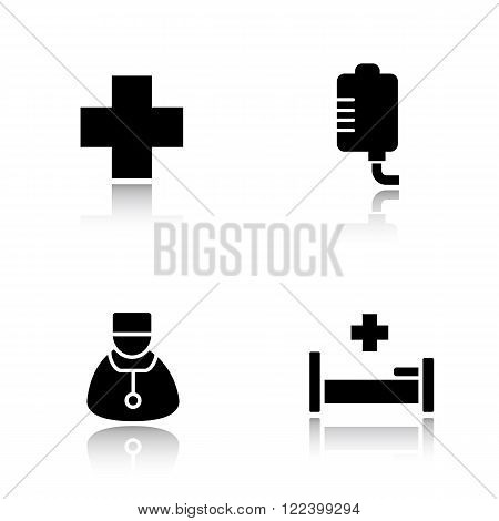 Hospital drop shadow icons set. Medical center cross symbol, clinic drop counter, blood transfusion, therapist doctor and hospital bed. Cast shadow logo concepts. Vector black silhouette illustrations