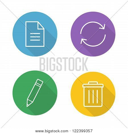 File editor flat linear icons set. New document paper symbol, refresh page, edit icon, trash bin, delete button. Organizer app ui. Long shadow outline logo concepts. Vector line art illustrations