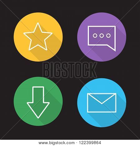 Chat app ui linear icons set. Add to favorite, rating star button, chat bubble, download arrow, send massage, email letter. Long shadow outline symbols. Vector line art illustrations on color circles