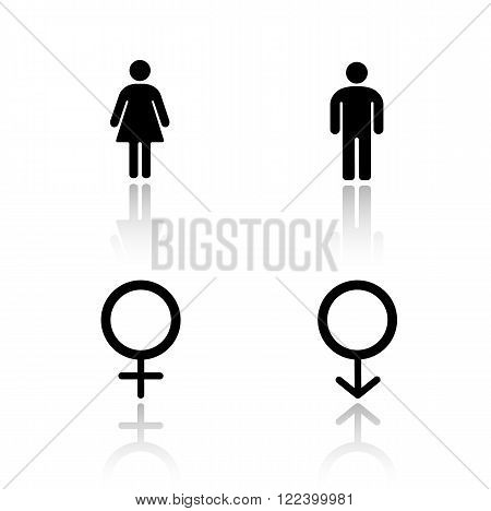 Man and woman silhouettes drop shadow icons set. WC entrance gender symbols, male and female toilet door signs, lady and gentleman restroom labels. Cast shadow logo concepts. Vector illustrations