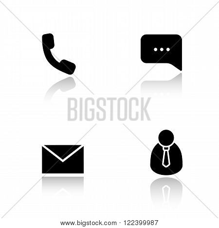 Customer support drop shadow icons set. Handset telephone, live chat bubble, email message, client manager. Call center office. Cast shadow logo concepts. Vector black silhouette illustrations