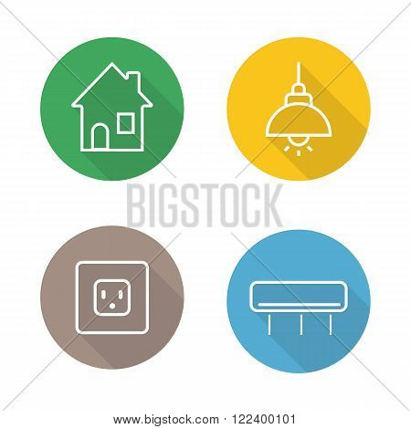Home interior linear flat icons set. Illuminated ceiling lamp, power socket, air conditioning. Modern house interior items. Long shadow outline logo concepts. Vector line art illustrations