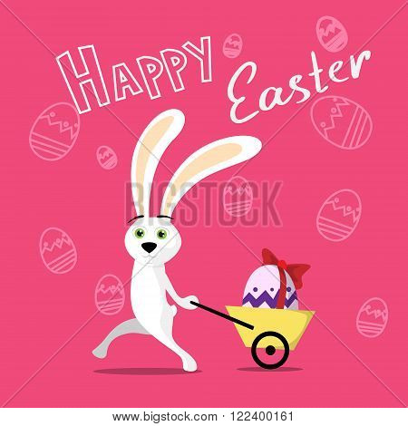 Rabbit Pull Small Cart With Colorful Egg Present Ribbon Over Sketch Background Happy Easter Holiday Banner Flat Vector Illustration