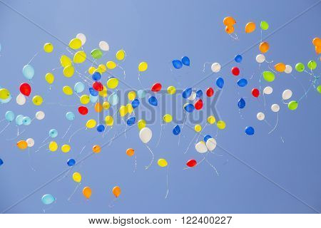 Baloon freed in the sky for a celebration
