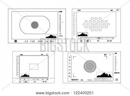 On the image is presented Camera viewfinder display.  vector illustration.