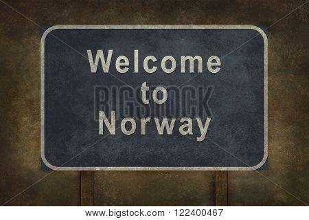 Distressed welcome to Norway road sign illustration with ominous background