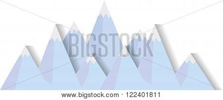 Flat image of mountain range with ice peaks eps10