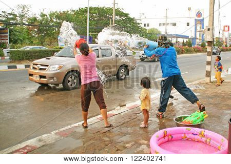 People In A Water Fight Summer Festival In Chiangmai, Thailand