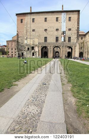 PARMA, ITALY - APRIL 1, 2014: Market square of Parma on April 1, 2014 in Parma, Italy. Parma is a popular unesco world heritage city in the province of Emilia-Romagna.