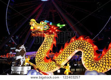 HONG KONG - February 20, 2016: Dragon decoration at Central pier in Hong Kong on February 20, 2016. The decoration lights up for the Chinese Lunar new year.
