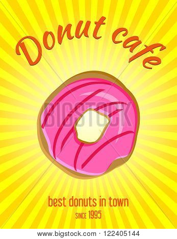 Donut vector illustration vintage coffee shop banner, background. Donut bakery retro advertising banner, poster design. Art Deco stylised food poster with copy space