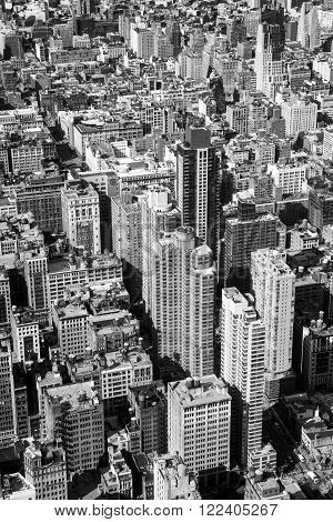 New York City aerial view with skyscrapers. America. Black & White photo.