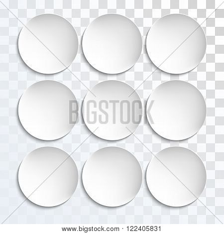 Empty white paper plate shapes. Vector round plates Illustration on transparent background. Plates background for your design.