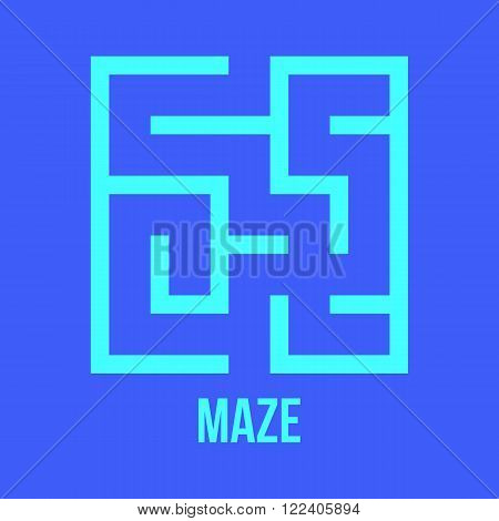 Maze Game Logo. Labyrinth Game with Entry and Exit. Find the Way Out Concept. Transportation. Logistics Abstract Background Concept. Business Path Concept. Vector Illustration.