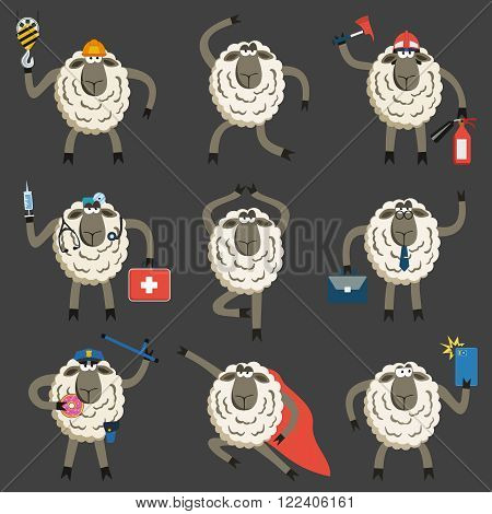 Lambs Professional Character Vector Set. Vector illustration of different stubborn sheep pose and role.