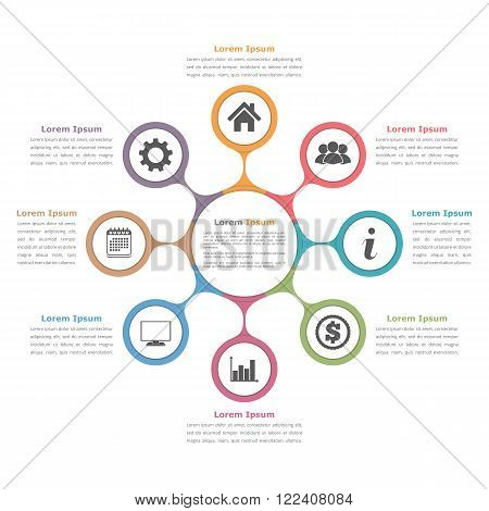 Circle diagram with eight elements with icons and text, flow chart template, business infographics, vector eps10 illustration