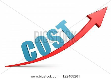 Word goal cost on red arrow image with hi-res rendered artwork that could be used for any graphic design.