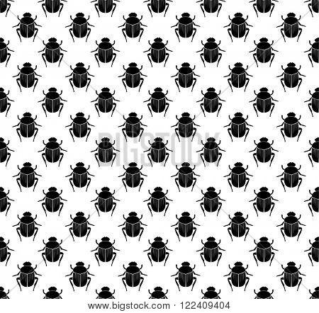 Scarab beetles seamless pattern.