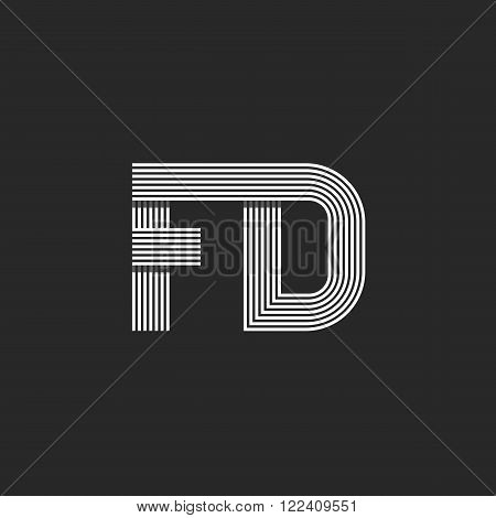 Combination Letter Fd Together Logo Monogram Mockup, F D Calm Symbols For Wedding Invitation, Busine