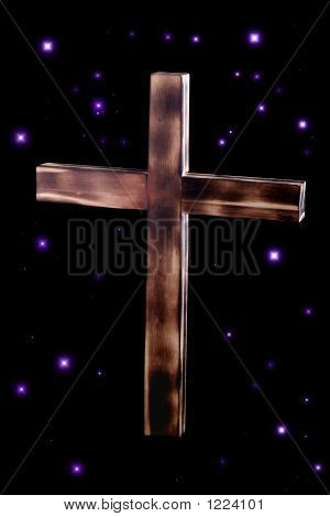 Wooden Cross With Stars