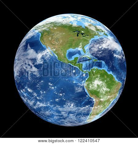 Planet Earth from space showing North & South America