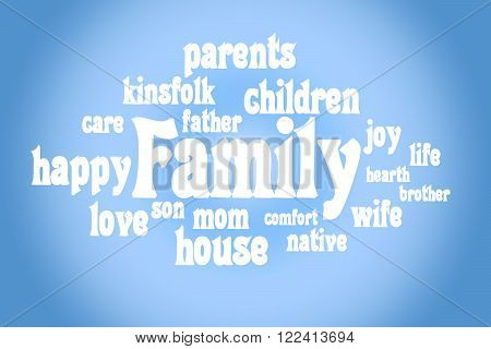 Association to the word family. White letters on a blue background