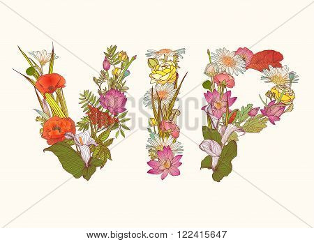VIP (very important person). Vector Floral letters abbreviation